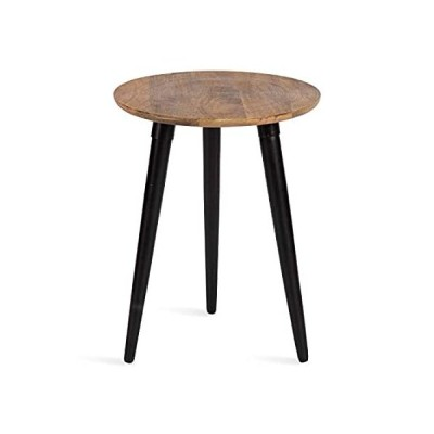 Kate and Laurel Rumsen Farmhouse Side Table, 16 x 16 x 21, Natural and Blac