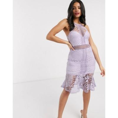 ラブトライアングル ミディドレス レディース Love Triangle lace pencil dress in lilac エイソス ASOS パープル 紫