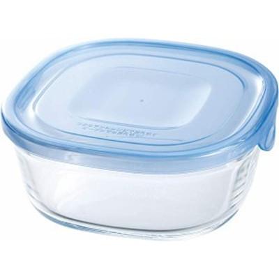 iwaki(イワキ) 耐熱ガラス 保存容器 アクアブルー 角型 S 450ml -ごはん 1膳 パック&レンジ KBT3240BLN