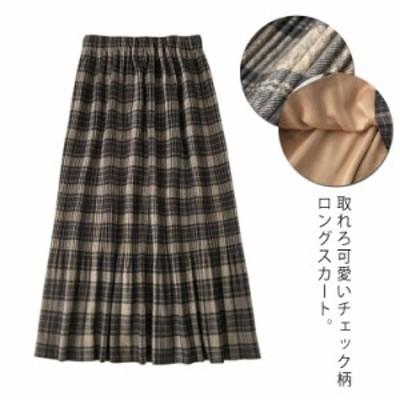 メルトンスカート スカート チェック柄 ロングスカート Aラインスカート グレンチェックスカート 厚手 トレロ 可愛い ウエストゴム カジ