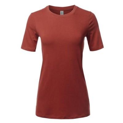 レディース 衣類 トップス A2Y Women's Basic Solid Premium Cotton Short Sleeve Crew Neck T Shirt Tee Tops Fired Brick S