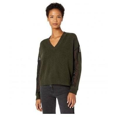 McQ マックキュー レディース 女性用 ファッション セーター V-Neck Cropped Jumper - Army Green