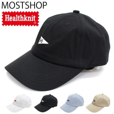 MOSTSHOP Healthknit ヘルスニット ベースボール キャップ コットンツイル ペナント刺繍入り バックストラップ 野球帽 無地 綿100% ローキャップ メンズ 帽子 男女兼用 ベージュ フリー メンズ・レディース