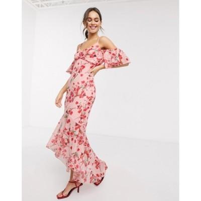リトルミストレス レディース ワンピース トップス Little Mistress fishtail ruffle midaxi dress in poppy floral