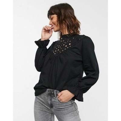 ウエアハウス レディース シャツ トップス Warehouse lazercut front blouse in black