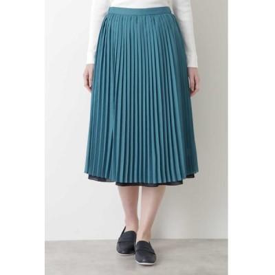 HUMAN WOMAN/ヒューマンウーマン ◆リバーシブルスカート グリーン×ネイビー S