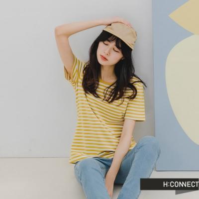 H:CONNECT 韓國品牌 女裝 -簡約純色條紋T-Shirt-黃色