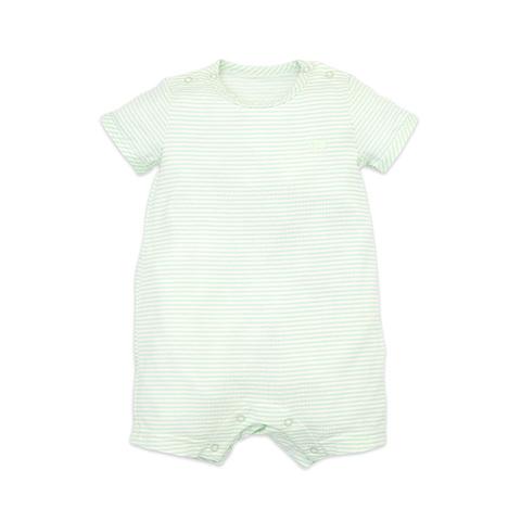 麗嬰房 嬰童冰牛奶條紋短袖遊戲褲-淺綠色 (6M/12M/18M/24M)