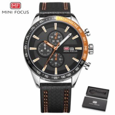 MINIFOCUSメンズ腕時計アナログクォーツ時計メンズ防水スポーツ時計メンズ腕時計ブラックレザーストラップレロジ Orange