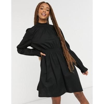 モンキ レディース ワンピース トップス Monki Maud cotton shirred detail mini dress in black