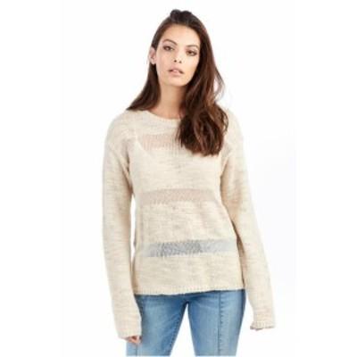 Religion  ファッション トップス True Religion Womens Sheer Stripe Knit Sweater in Scuffed Beige