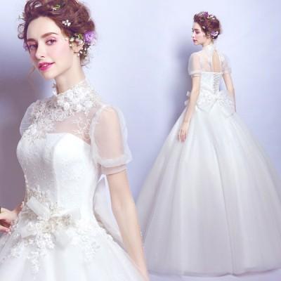 パーティードレス ウエディングドレス 二次会 花嫁 プリンセス 白 ロングドレス チュール 結婚式 演奏会 お呼ばれ 新年会 卒業式 成人式 お呼ばれ フォーマル
