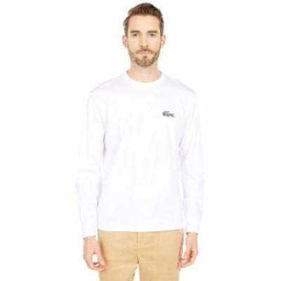 ラコステ メンズ シャツ トップス Long Sleeve Solid Jersey with Large Graphic White/Leopard