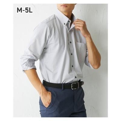 ワイシャツ メンズ ニット素材 動きやすい 別布使い 形態安定 長袖 デザイン ボタンダウン 冬 M/L/LL ニッセン nissen