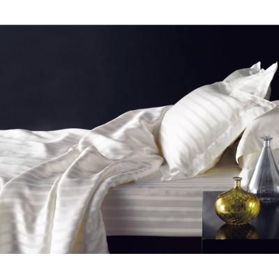シングル (オールシルク サテン織り ベッドシーツ) ホワイト