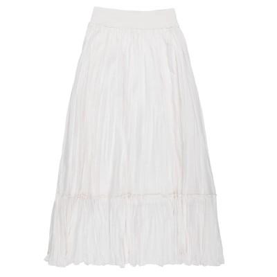 EUROPEAN CULTURE ロングスカート アイボリー S コットン 99% / ポリウレタン 1% ロングスカート
