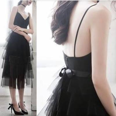 ドレス ワンピース ひざ丈 ノースリーブ 20代 ブラック シフォン リボン 大人可愛い ガーリー ふんわり 上品 春夏 結婚式 お呼ばれ a498