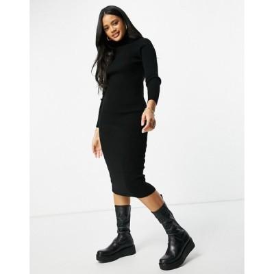 ファッションキラー Fashionkilla レディース ボディコンドレス ミドル丈 ワンピース・ドレス Knitted High Neck Midi Bodycon Dress In Black ブラック