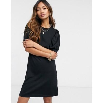 ヴェロモーダ レディース ワンピース トップス Vero Moda mini sweat dress with puff sleeve in black Black