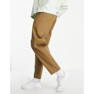 エイソス ASOS DESIGN メンズ チノパン ボトムス・パンツ oversized tapered fit chinos in brown ブラウン