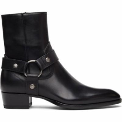 イヴ サンローラン Saint Laurent メンズ ブーツ シューズ・靴 Black Wyatt Harness Boots Black