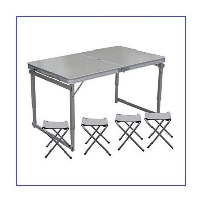 BDBT Folding Tables & Chairs Portable Outdoor Camping Leisure Dining Table Adjustable Height Thickened with Umbrella Hole and 4 Stools