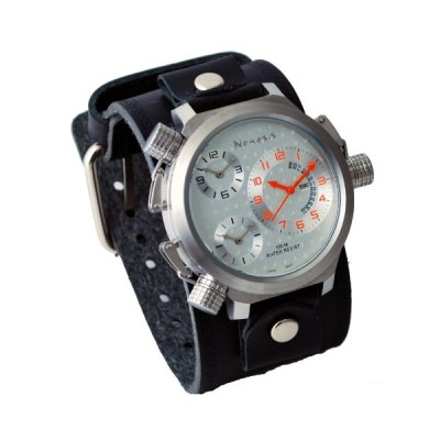 Nemesis #KLHST080S Men's Signature Collection Triple Time Zone Oversized Wide Leather Cuff Band Watch 並行輸入品