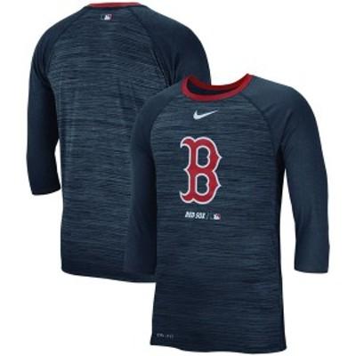 ナイキ メンズ Tシャツ トップス Boston Red Sox Nike Velocity 3/4-Sleeve Raglan T-Shirt Navy