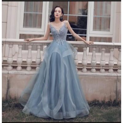 ウエディングドレス パーティードレス 上品 大人 ロング丈ドレス 結婚式 ブライズメイド ドレス フォーマル 合唱衣装 ワンピースドレス
