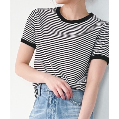 tシャツ Tシャツ 配色ラインボーダーリブカットソー