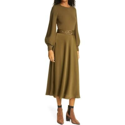 テッドベーカー TED BAKER LONDON レディース ワンピース ミドル丈 ワンピース・ドレス Gwenii Belted Long Sleeve Midi Dress Khaki