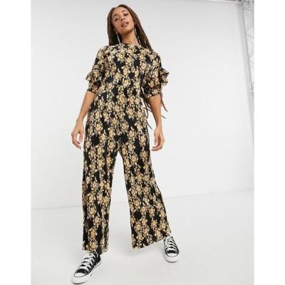 エイソス レディース ワンピース トップス ASOS DESIGN frill back and sleeve plisse tea jumpsuit in mustard floral Mustard floral