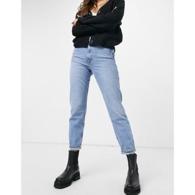リバーアイランド レディース デニムパンツ ボトムス River Island Carrie distressed mom jeans in mid blue