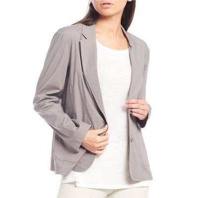 エイリーンフィッシャー レディース ジャケット&ブルゾン アウター Petite Size Organic Cotton Stretch Poplin Notch Collar Shaped Jacket Zinc