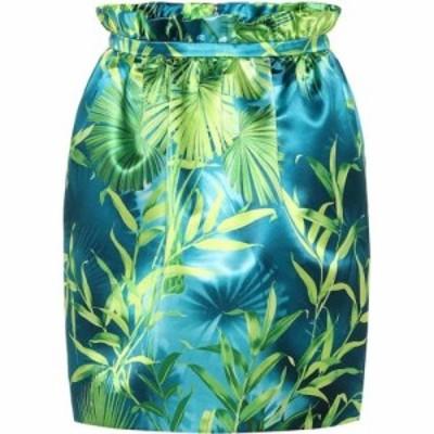 ヴェルサーチ Versace レディース ミニスカート スカート jungle-print satin miniskirt Green/Print