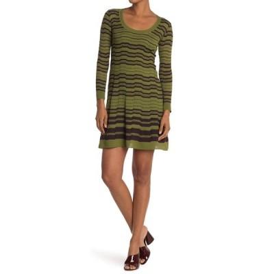 エム ミッソーニ レディース ワンピース トップス Stripe Print Wool Blend Long Sleeve Dress OLIVE GREEN