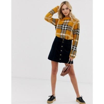 ジェイディーワイ JDY レディース ミニスカート スカート button through cord mini skirt in navy ネイビー