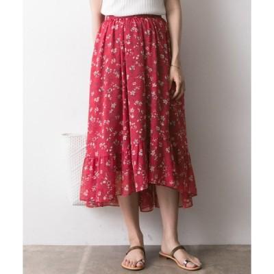 スカート ボタニカルフラワープリントスカート