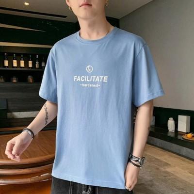 メンズTシャツおしゃれ半袖クールネックカジュアルシャツコットントップスポイント消化カットソー2021