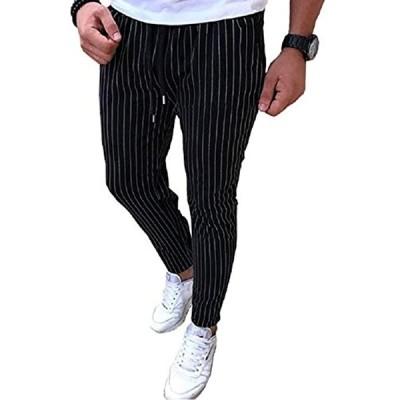 オールデーシャイニング ストライプ パンツ ロング ズボン ストレッチ ラフ 動きやすい ストレート スキニーパンツ(ブラック, M)
