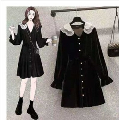 予約商品 大きいサイズ レディース ベロア ワンピース レース襟 きれいめ 長袖オーバーサイズ 韓国ファッション ビッグサイズ otona LL