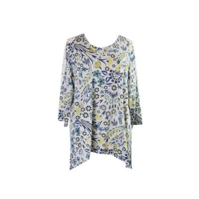 レディース トップス インポートブランド Style  Co.  Plus Size Grey Multi Printed Crochet-Trim Lattice-Neck Top 1X