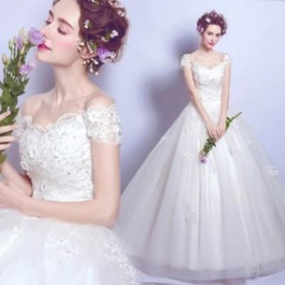 ウェディングドレス 袖あり Vネック ブライダルドレス Aライン 結婚式ドレス ホワイトドレス レース チュール 花嫁ドレス 編み上げ プリ