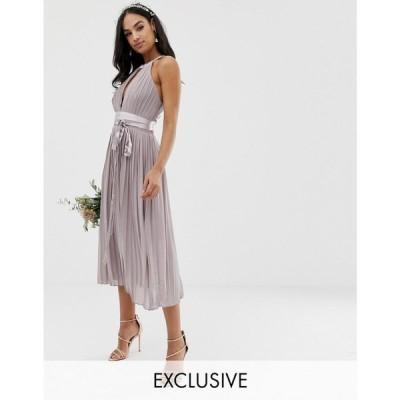 ティー エフ エヌシー TFNC レディース ワンピース ワンピース・ドレス pleated midi bridesmaid dress with cross back and bow detail in grey Grey