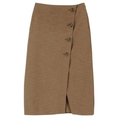ティティベイト titivate リネンライクフェイクラップ台形スカート (ブラウン)