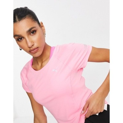 プーマ レディース Tシャツ トップス PUMA Running fitted T-shirt in peach Pink