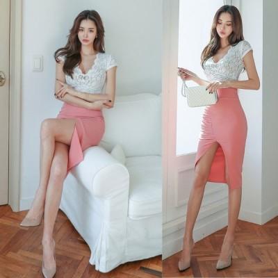 【全2色】斜線シャーリングスリットミディアムスカート ピンク/ブラック S/M【送料無料】【韓国製】【lux-tulip-sk】