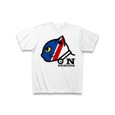 猫だロゴ(顔トリコロール) Tシャツ(ホワイト)