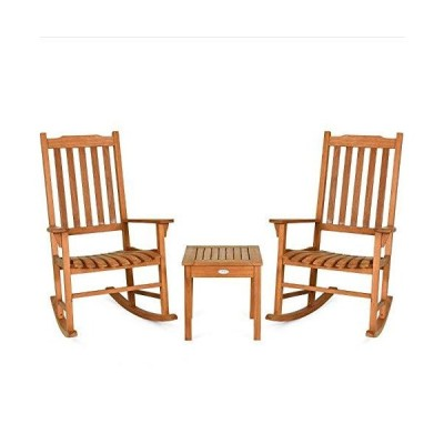 Sunil Rocking Chair Set Eucalyptus 3 Pcs with Coffee Table