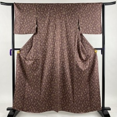 小紋 美品 優品 人物 動物 赤紫 袷 161cm 64cm M 正絹 中古